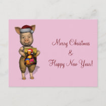 Cute Santa Piggie Showing Personalizable Image Holiday Postcard