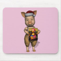 Cute Santa Piggie Showing Personalizable Image Mouse Pad