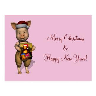 Cute Santa Piggie Showing Personalizable Image Postcards