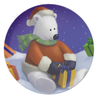 Cute Santa Polar Bear Decorative Holiday Plate