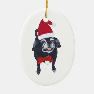 Cute Santa Pug Dog Christmas Ornaments