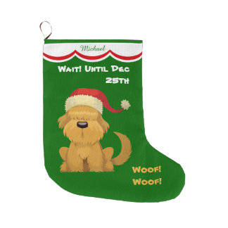 Cute Santa Puppy Personalized Large Christmas Stocking