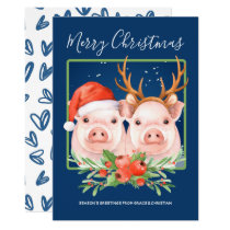 Cute Santa Reindeer Christmas Pig Couple Card
