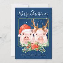 Cute Santa Reindeer Christmas Pig Couple Holiday Card