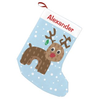 Cute Santa Reindeer in Falling Snow Small Christmas Stocking
