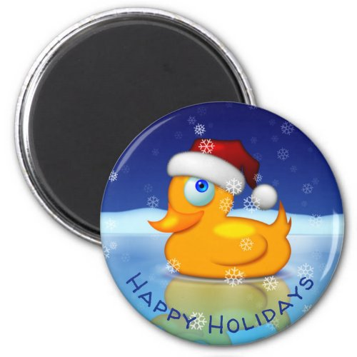 Cute Santa Rubber Duck With Holiday Greetings Magnet