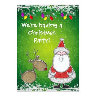 Cute Santa & Rudolph Faux Jewels Christmas Invites
