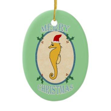 Christmas Themed Cute Santa Seahorse Christmas Blue Green Ceramic Ornament
