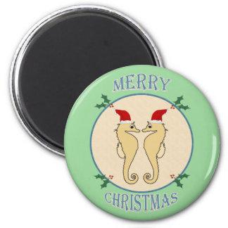 Cute Santa Seahorse Pair Christmas Blue Green Magnet
