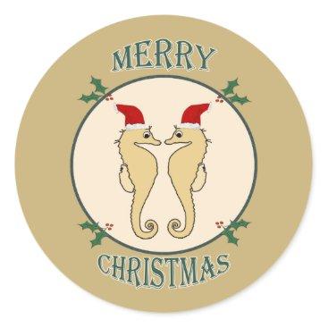 Christmas Themed Cute Santa Seahorse Pair Christmas Gold Classic Round Sticker