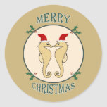 Cute Santa Seahorse Pair Christmas Gold Classic Round Sticker