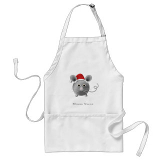 Cute Santa Silver Grey Mouse Christmas Adult Apron