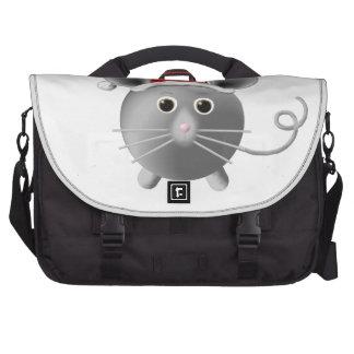 Cute Santa Silver Grey Mouse Christmas Laptop Computer Bag
