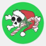 Cute Santa Skull Classic Round Sticker