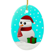 Cute Santa Snowman Baby's First Christmas Ornament