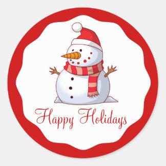 Cute Santa Snowman Happy Holiday Kids Christmas Classic Round Sticker