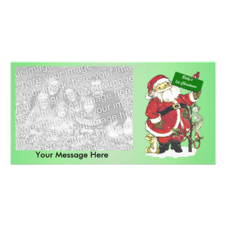Cute Santa Tree Animals Baby First Christmas Card
