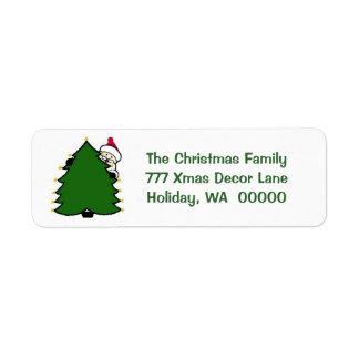 Cute Santa Tree Merry Christmas Card Sticker