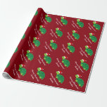 "Cute Santa turtle Merry Christmas wrapping paper<br><div class=""desc"">Cute Santa turtle Merry Christmas wrapping paper. Cute vector animal design with Santa Clause hat. Personalized giftwrap for parents, children and babies. Funny illustration with for the Holidays. Add your own name and custom seasons greetings like Merry Christmas or Happy Holidays. Also fun for Xmas baby shower party. Customizable background...</div>"