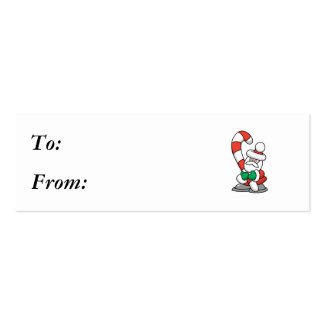 Cute Santa with Giant Candy Cane Business Cards