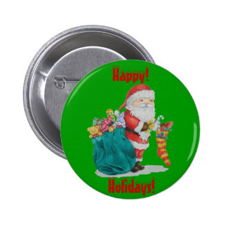 Cute santa with gifts & stocking christmas button button