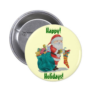 Cute santa with gifts & stocking christmas button pinback button