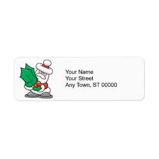 Cute Santa with Holly Leaves Return Address Label