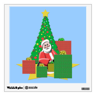 Cute Santa With Presents Christmas Wall Decal