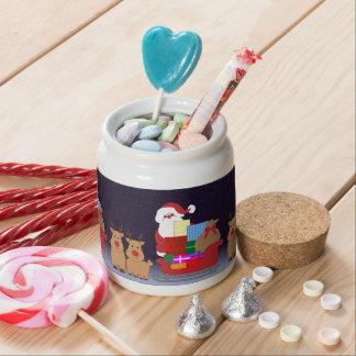 Cute Santa With Reindeer Candy Jar