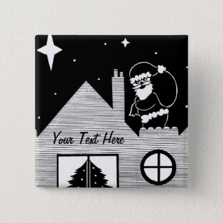 Cute santa with sack on roof black and white art button