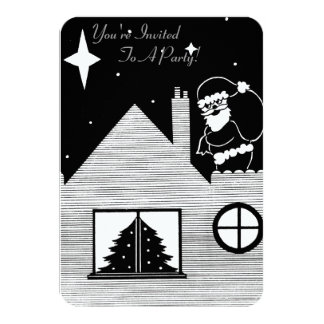 Cute santa with sack on roof black and white art card