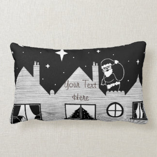 Cute santa with sack on roof black and white art throw pillows