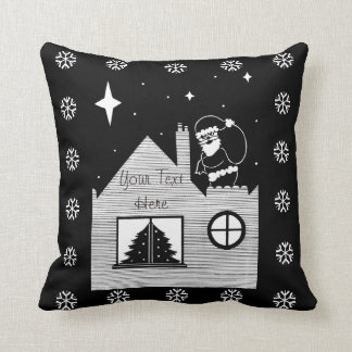 Cute santa with sack on roof black and white art throw pillow
