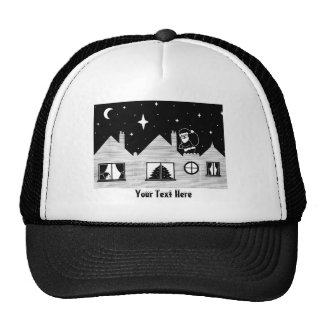Cute santa with sack on roof black and white art trucker hat