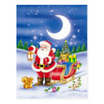 Cute Santa with sledge Postcard