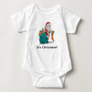 cute santa with toys christmas babies t-shirt