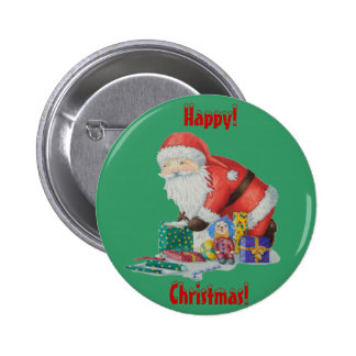 Cute santa wrapping toys and gift christmas button pinback buttons