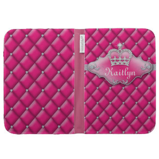 Cute Satin Tufted Jewelry Diamonds Pink Crown Kindle Covers