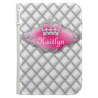 Cute Satin Tufted Jewelry Diamonds White Crown Kindle Folio Cases
