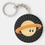 Cute Saturn Planet Basic Round Button Keychain