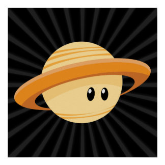 Cute Saturn Planet Poster