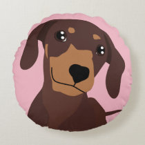 Cute Sausage Dog Dachshund Pink Pillow Cushion