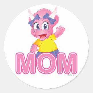 Cute Savannah Dino Cartoon Gift for Mom - Round Sticker