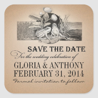 cute save the date vintage stickers