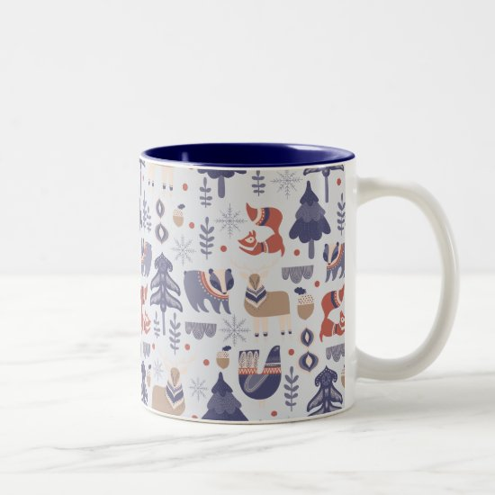 Cute Scandinavian Animal Print Two-Tone Coffee Mug