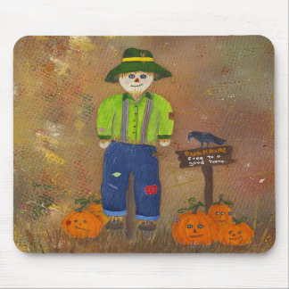 Cute scarecrow and pumpkins mousepad