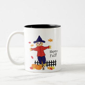 Cute Scarecrow and Pumpkins Two-Tone Coffee Mug