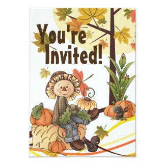 Cute Scarecrow Autumn Birthday Invitation