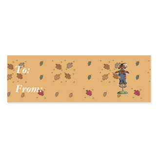 cute scarecrow bear Double-Sided mini business cards (Pack of 20)