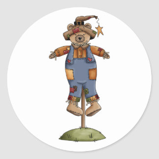 cute scarecrow bear classic round sticker